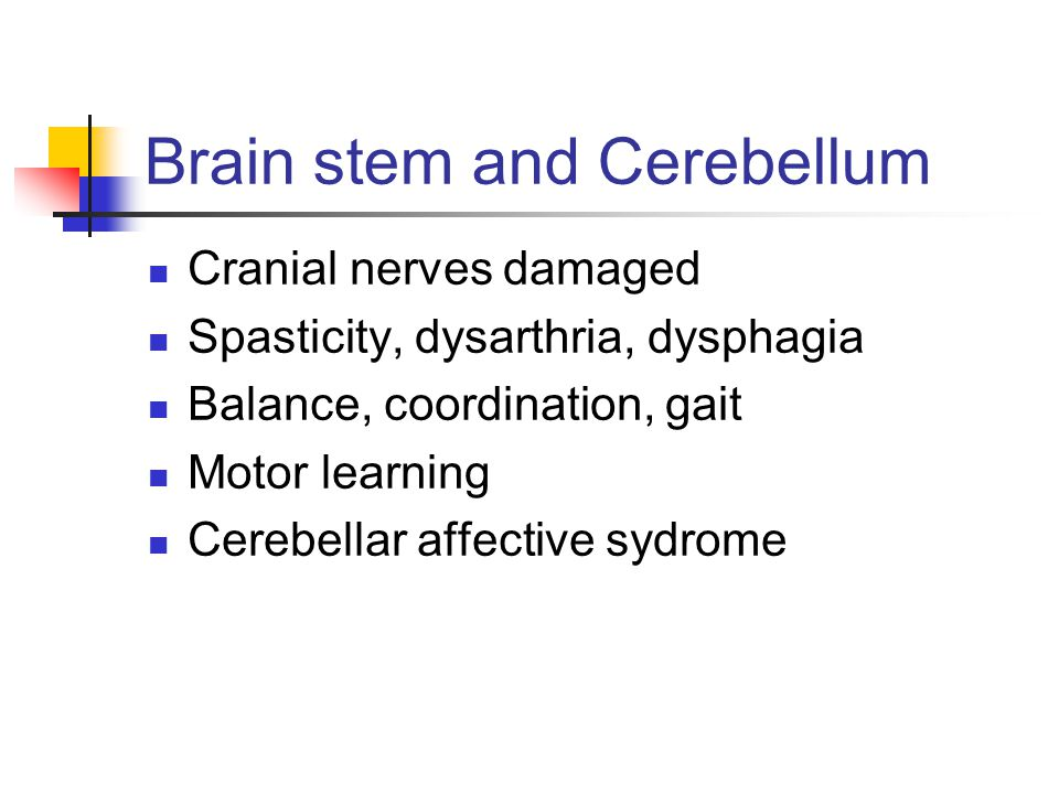 Brain stem and Cerebellum Cranial nerves damaged Spasticity, dysarthria, dysphagia Balance, coordination, gait Motor learning Cerebellar affective sydrome