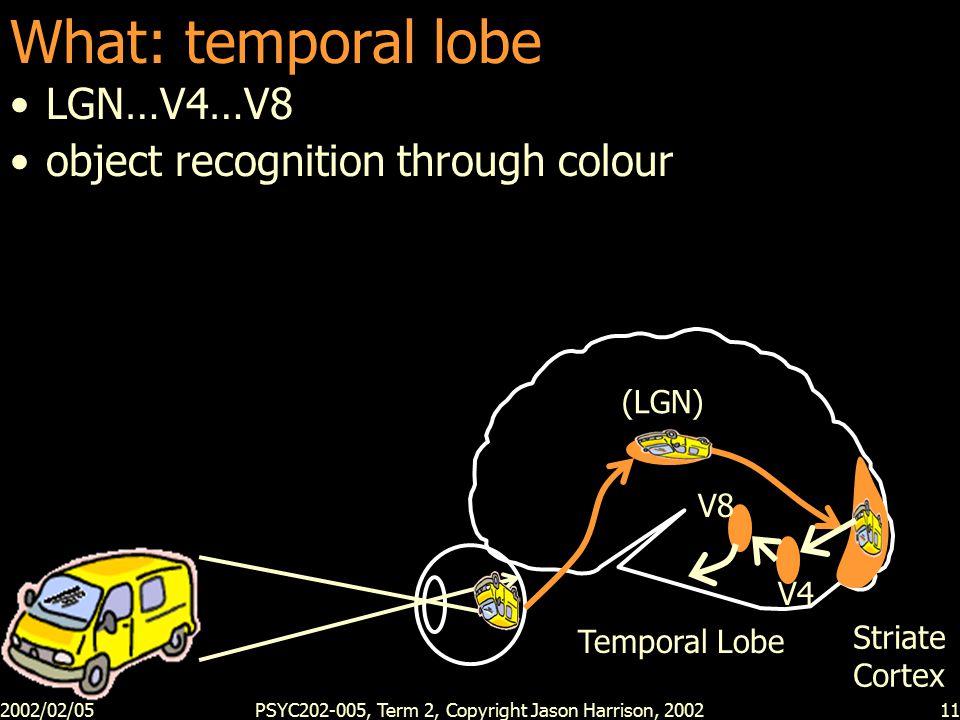 2002/02/05PSYC202-005, Term 2, Copyright Jason Harrison, 200211 What: temporal lobe LGN…V4…V8 object recognition through colour (LGN) Striate Cortex V4 Temporal Lobe V8