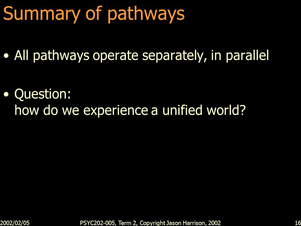 2002/02/05PSYC202-005, Term 2, Copyright Jason Harrison, 200216 Summary of pathways All pathways operate separately, in parallel Question: how do we experience a unified world