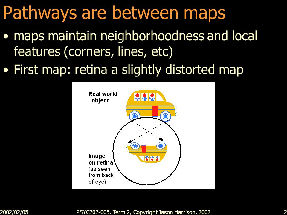 2002/02/05PSYC202-005, Term 2, Copyright Jason Harrison, 20022 Pathways are between maps maps maintain neighborhoodness and local features (corners, lines, etc) First map: retina a slightly distorted map
