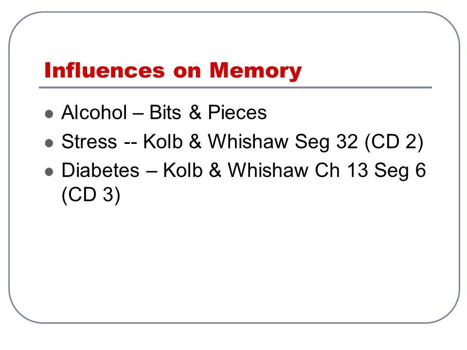 Influences on Memory Alcohol – Bits & Pieces Stress -- Kolb & Whishaw Seg 32 (CD 2) Diabetes – Kolb & Whishaw Ch 13 Seg 6 (CD 3)