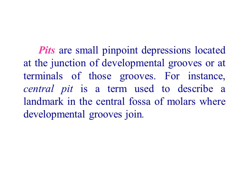 Pits are small pinpoint depressions located at the junction of developmental grooves or at terminals of those grooves. For instance, central pit is a