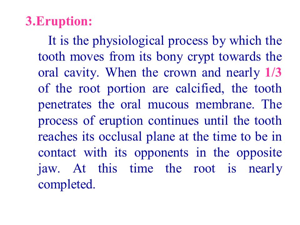 3.Eruption: It is the physiological process by which the tooth moves from its bony crypt towards the oral cavity. When the crown and nearly 1/3 of the