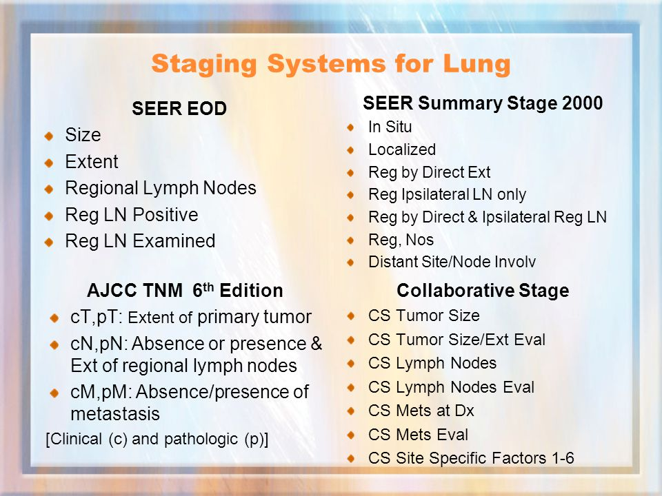 Staging Systems for Lung SEER EOD Size Extent Regional Lymph Nodes Reg LN Positive Reg LN Examined SEER Summary Stage 2000 In Situ Localized Reg by Direct Ext Reg Ipsilateral LN only Reg by Direct & Ipsilateral Reg LN Reg, Nos Distant Site/Node Involv AJCC TNM 6 th Edition cT,pT: Extent of primary tumor cN,pN: Absence or presence & Ext of regional lymph nodes cM,pM: Absence/presence of metastasis [Clinical (c) and pathologic (p)] Collaborative Stage CS Tumor Size CS Tumor Size/Ext Eval CS Lymph Nodes CS Lymph Nodes Eval CS Mets at Dx CS Mets Eval CS Site Specific Factors 1-6