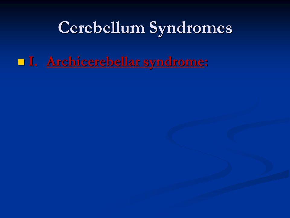 Cerebellum Syndromes I.Archicerebellar syndrome: I.Archicerebellar syndrome: