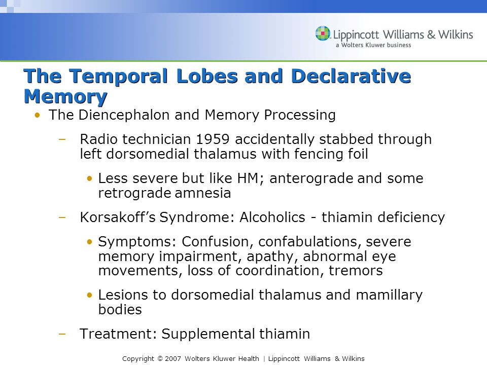 Copyright © 2007 Wolters Kluwer Health | Lippincott Williams & Wilkins The Temporal Lobes and Declarative Memory The Diencephalon and Memory Processing –Radio technician 1959 accidentally stabbed through left dorsomedial thalamus with fencing foil Less severe but like HM; anterograde and some retrograde amnesia –Korsakoff's Syndrome: Alcoholics - thiamin deficiency Symptoms: Confusion, confabulations, severe memory impairment, apathy, abnormal eye movements, loss of coordination, tremors Lesions to dorsomedial thalamus and mamillary bodies –Treatment: Supplemental thiamin