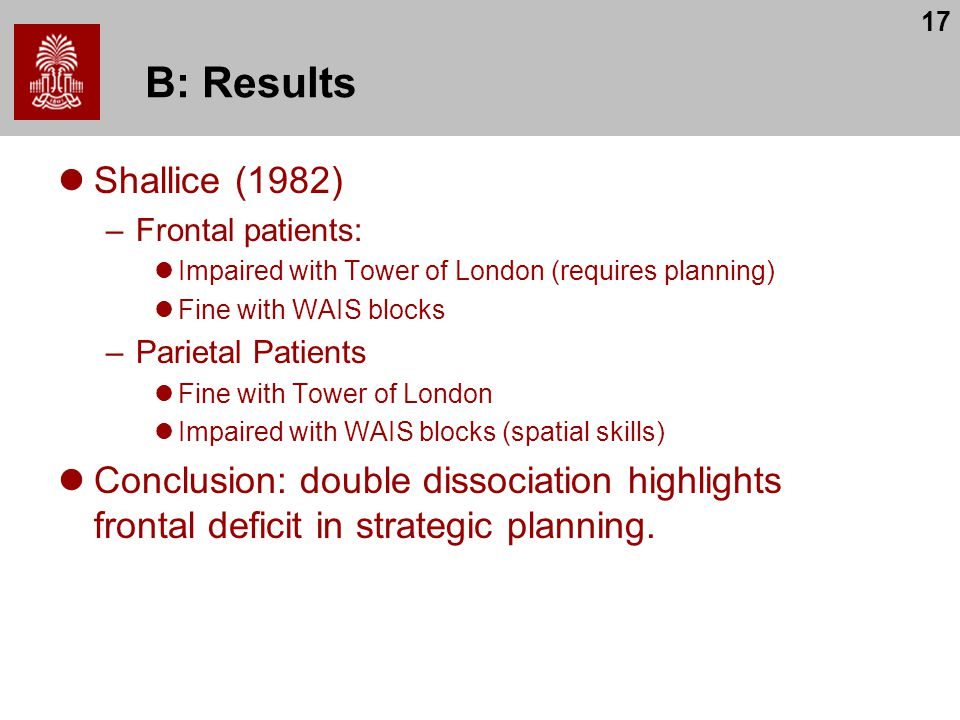 17 B: Results Shallice (1982) –Frontal patients: Impaired with Tower of London (requires planning) Fine with WAIS blocks –Parietal Patients Fine with Tower of London Impaired with WAIS blocks (spatial skills) Conclusion: double dissociation highlights frontal deficit in strategic planning.