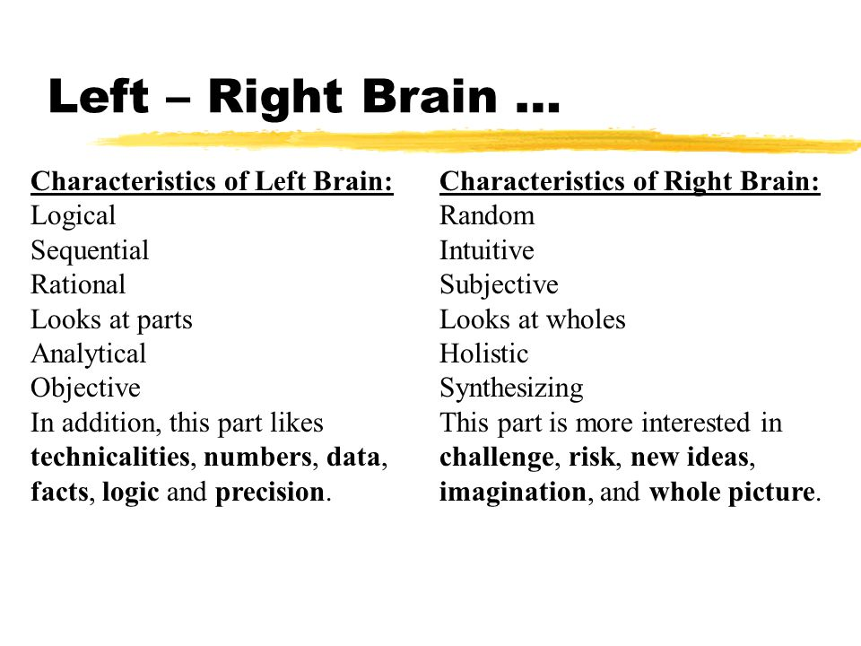 Left – Right Brain … Characteristics of Right Brain: Random Intuitive Subjective Looks at wholes Holistic Synthesizing This part is more interested in challenge, risk, new ideas, imagination, and whole picture.