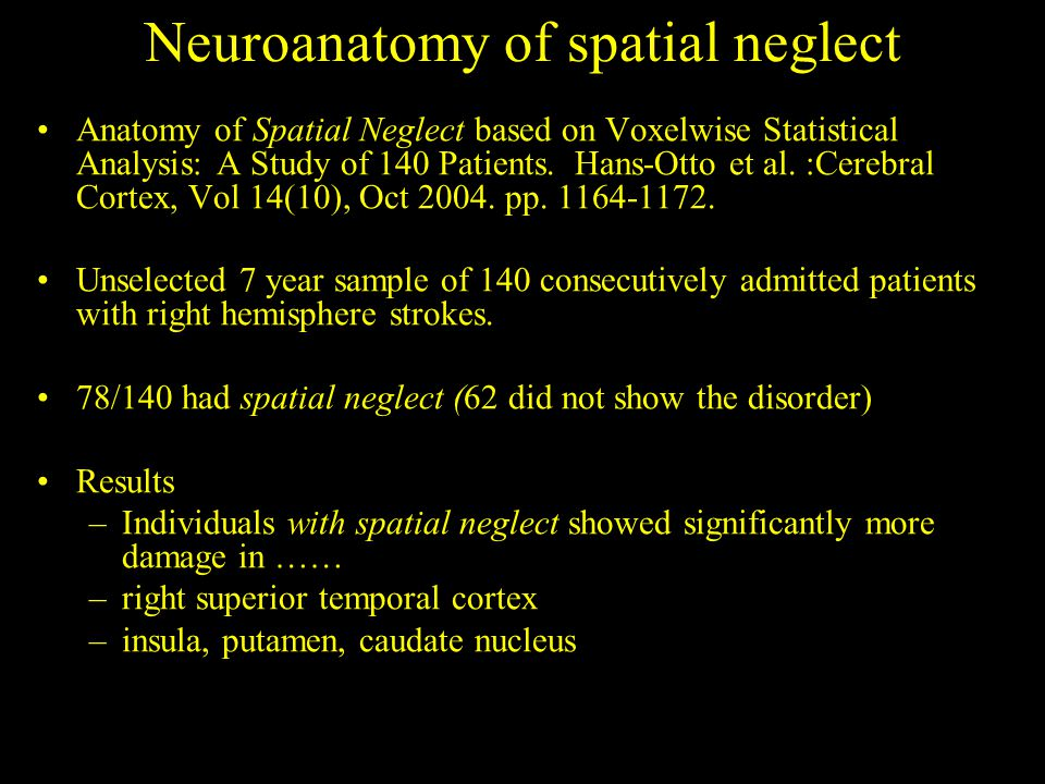 Neuroanatomy of spatial neglect Anatomy of Spatial Neglect based on Voxelwise Statistical Analysis: A Study of 140 Patients.