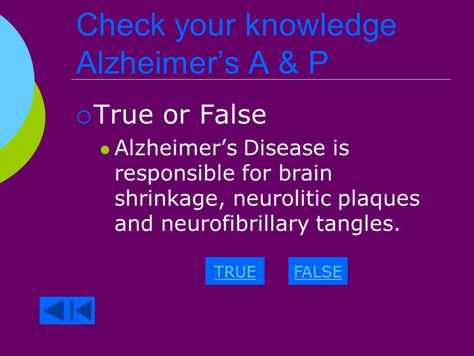 Alzheimer's A & P 3 Cardinal Signs  Brain shrinkage.