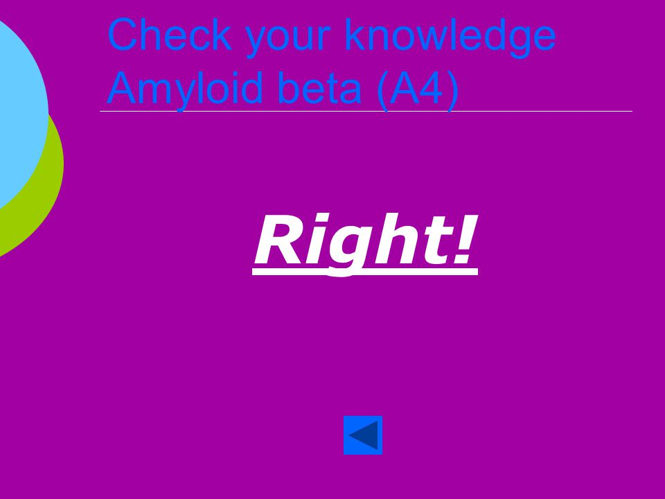 Check your knowledge Amyloid beta (A4)  True or False When cleaved A4 seeps outside the cell.