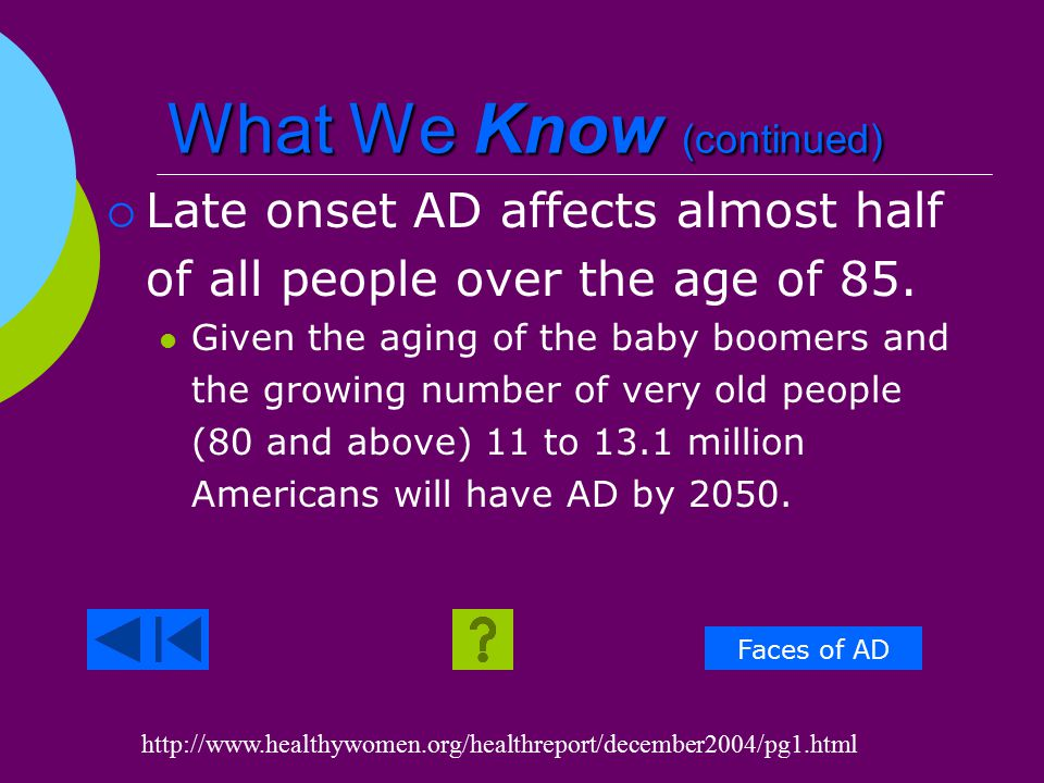 What We Know  4.5 million people have Alzheimer's Disease (AD).