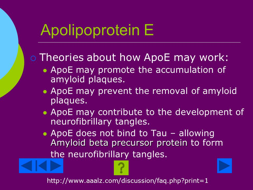 Genetics Apolipoprotein E (ApoE)  APOE is a protein + a fat.