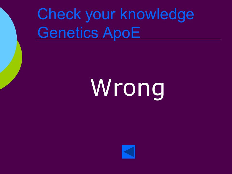 Check your knowledge Genetics ApoE Right!