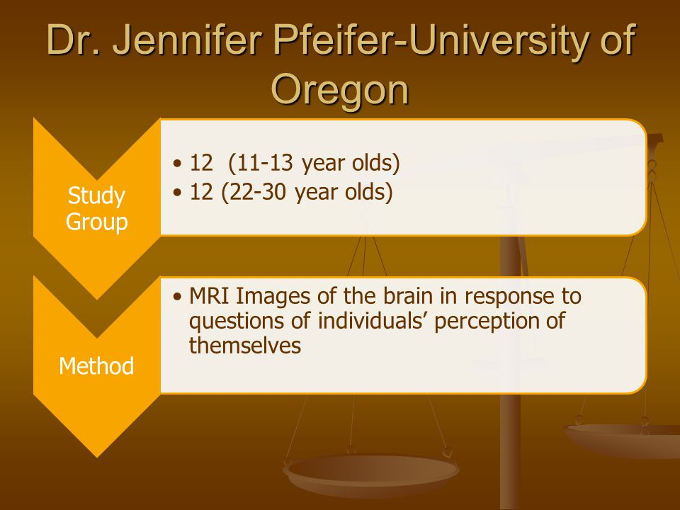 Dr. Jennifer Pfeifer-University of Oregon Study Group 12 (11-13 year olds) 12 (22-30 year olds) Method MRI Images of the brain in response to question
