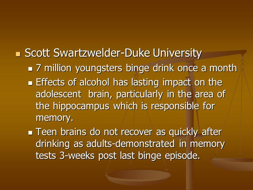 Scott Swartzwelder-Duke University Scott Swartzwelder-Duke University 7 million youngsters binge drink once a month 7 million youngsters binge drink o