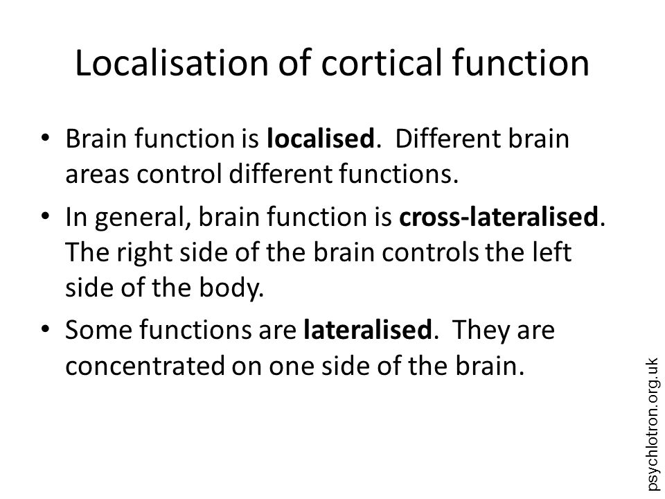 psychlotron.org.uk Localisation of cortical function Brain function is localised. Different brain areas control different functions. In general, brain