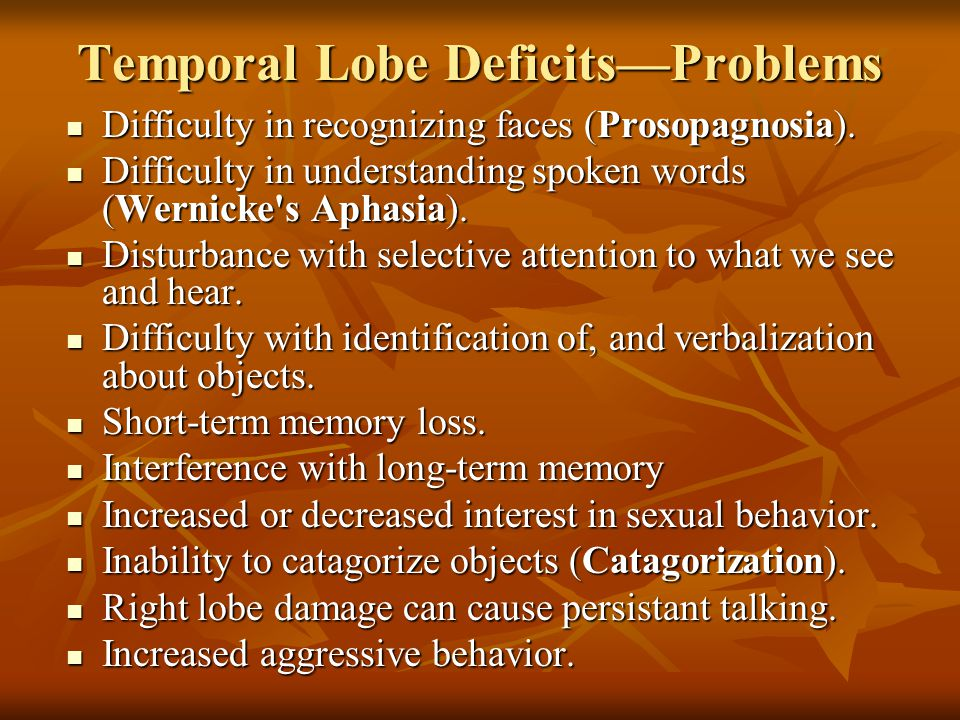 Temporal Lobe Deficits—Problems Difficulty in recognizing faces (Prosopagnosia).