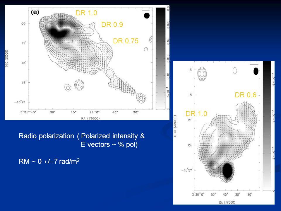 Radio polarization ( Polarized intensity & E vectors ~ % pol) RM ~ 0  7 rad/m 2 DR 1.0 DR 0.9 DR 0.75 DR 1.0 DR 0.6
