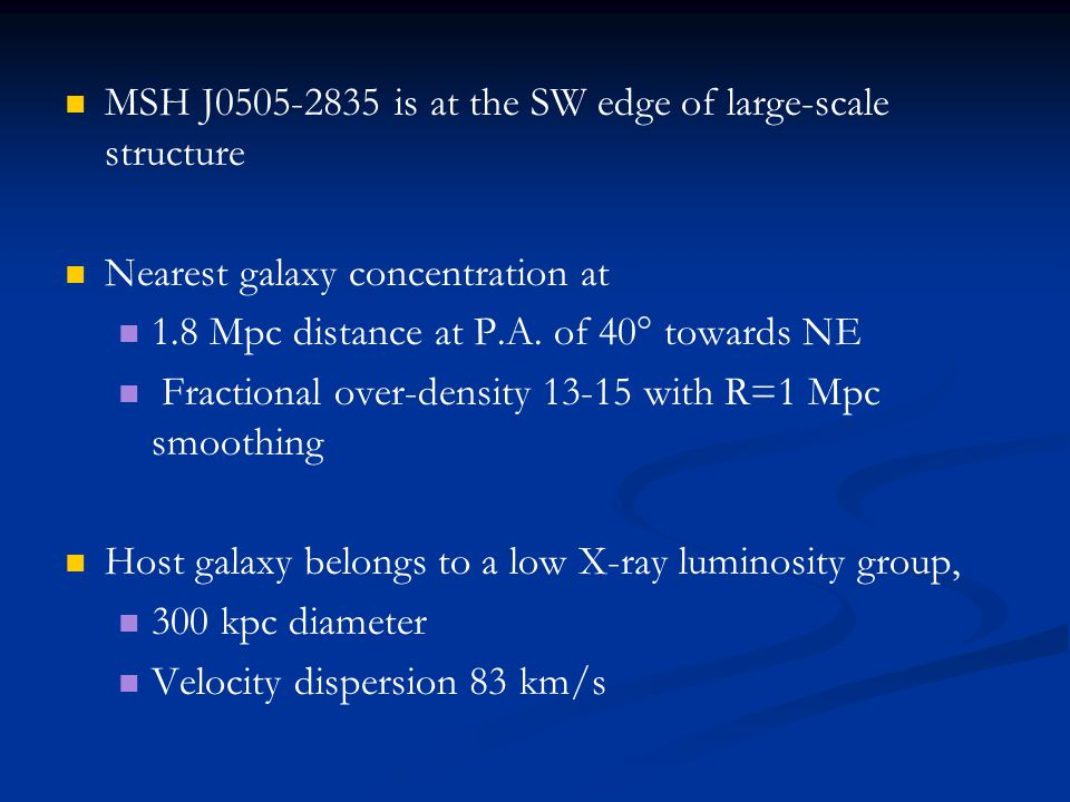 MSH J0505-2835 is at the SW edge of large-scale structure Nearest galaxy concentration at 1.8 Mpc distance at P.A. of 40° towards NE Fractional over-d