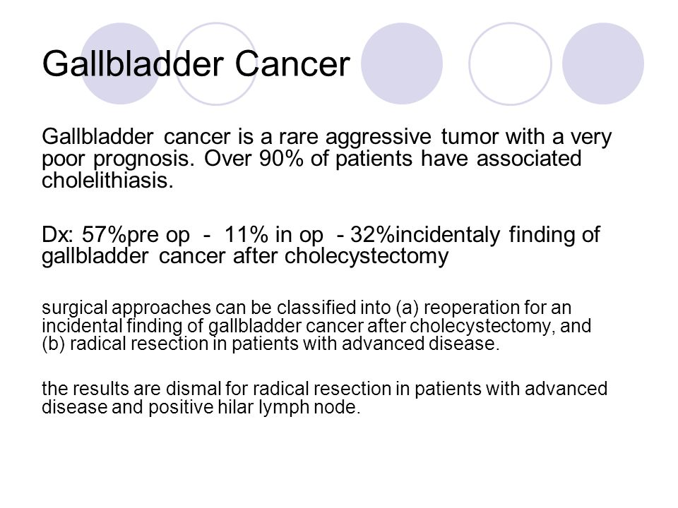 Gallbladder Cancer Gallbladder cancer is a rare aggressive tumor with a very poor prognosis. Over 90% of patients have associated cholelithiasis. Dx: