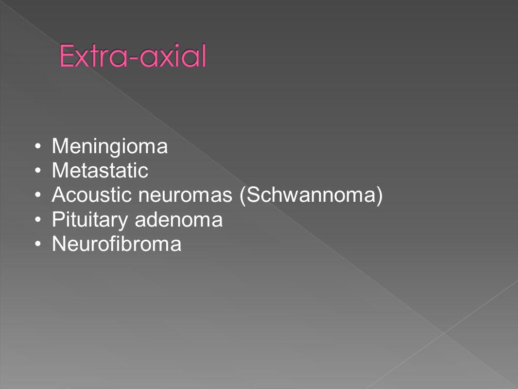 Meningioma Metastatic Acoustic neuromas (Schwannoma) Pituitary adenoma Neurofibroma