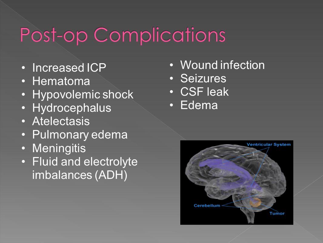 Increased ICP Hematoma Hypovolemic shock Hydrocephalus Atelectasis Pulmonary edema Meningitis Fluid and electrolyte imbalances (ADH) Wound infection Seizures CSF leak Edema