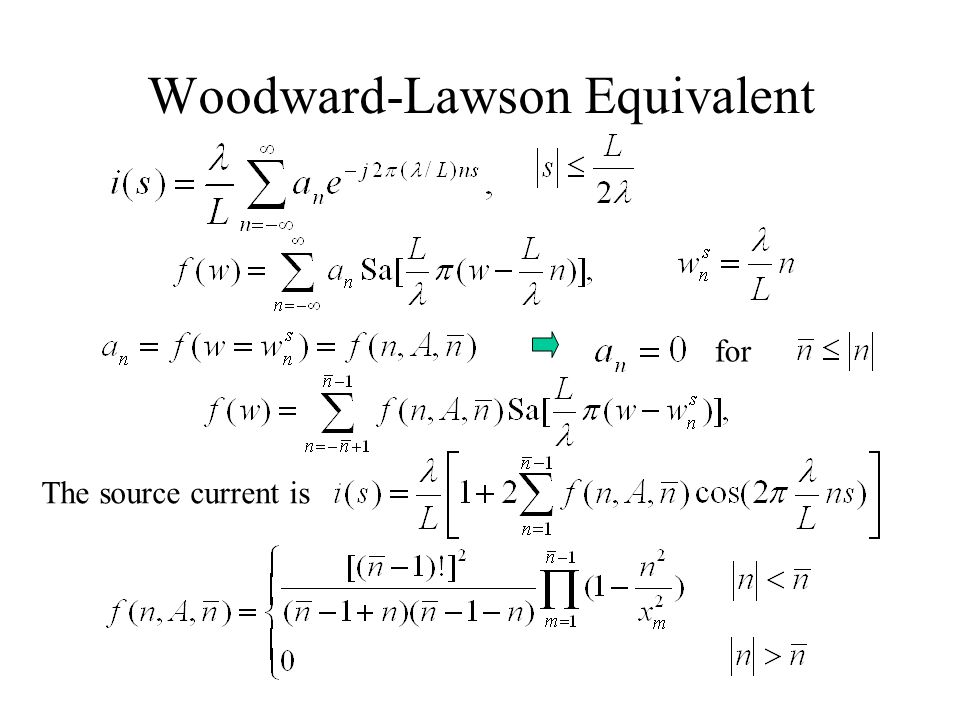 Woodward-Lawson Equivalent for The source current is
