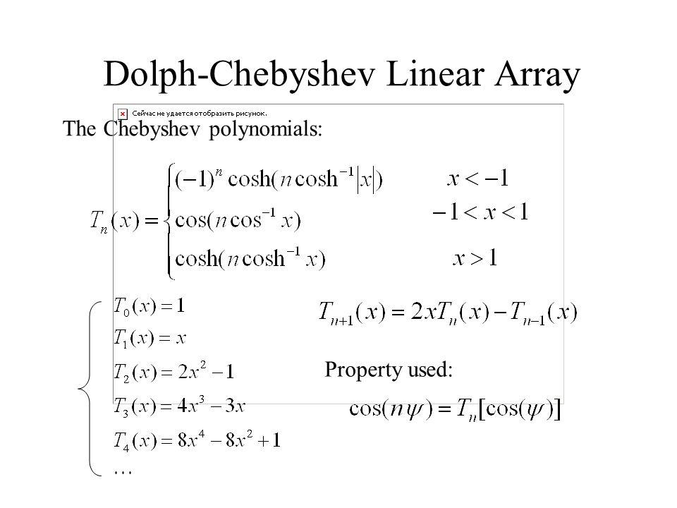 Dolph-Chebyshev Linear Array The Chebyshev polynomials: Property used: