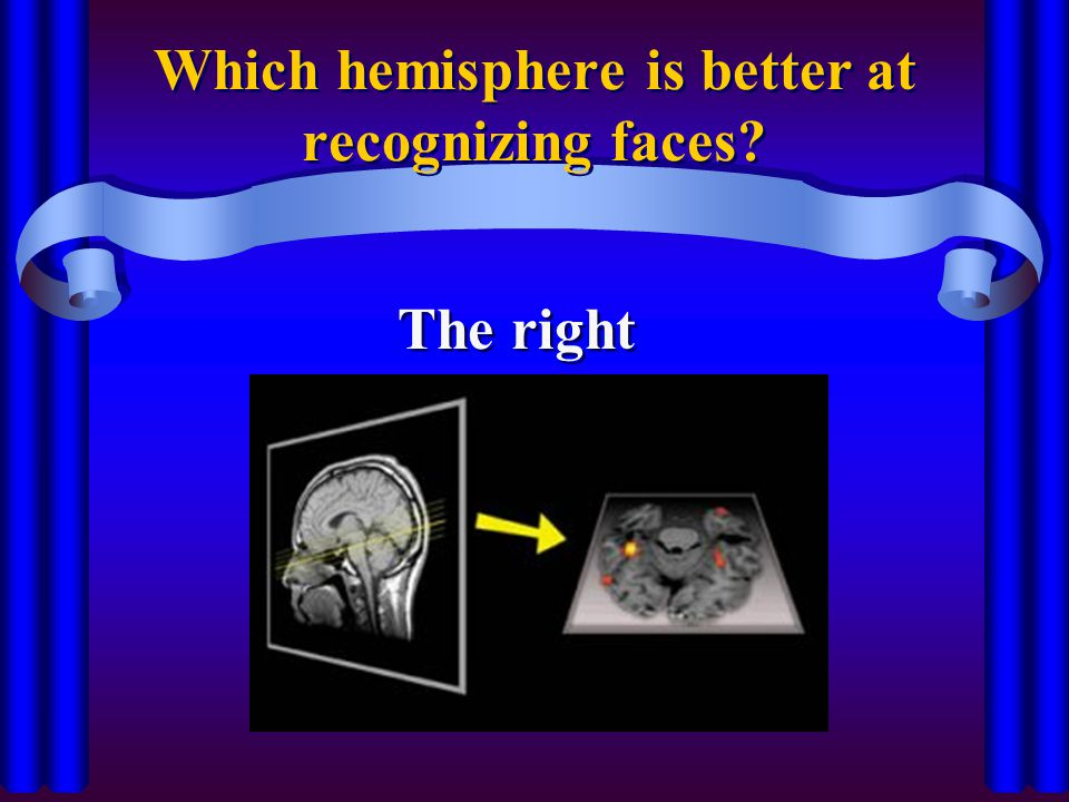 Which hemisphere is better at recognizing faces? The right