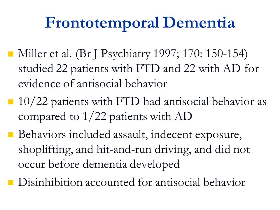 Frontotemporal Dementia Miller et al.