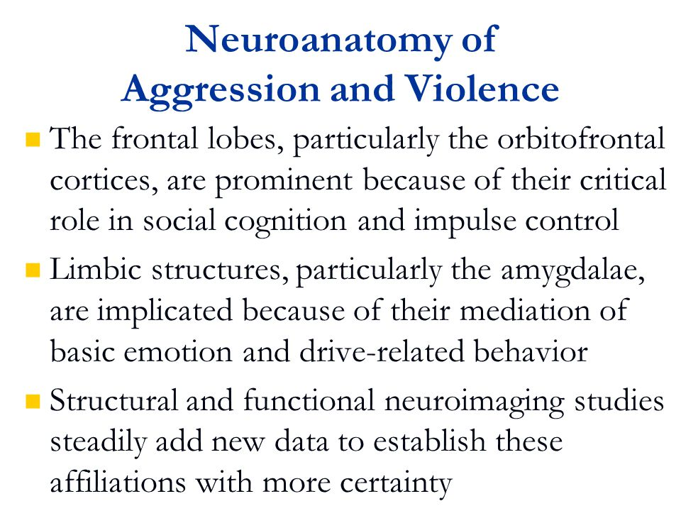 Alzheimer's Disease Phenomena studied are typically aggression, assaultiveness, and agitation Cummings and Victoroff (Neuropsychiatry Neuropsychol Behav Neurol 1990; 3: 140-158) reported that 18-65% of AD patients display aggression or assaultiveness Senanarong et al.