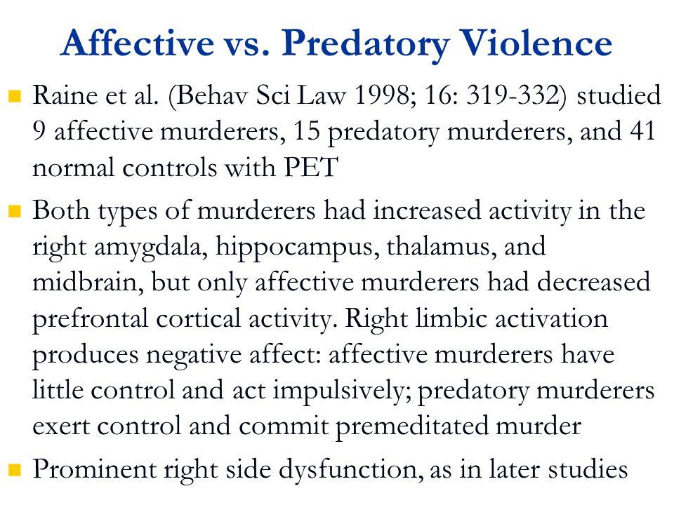 Affective vs. Predatory Violence Raine et al.