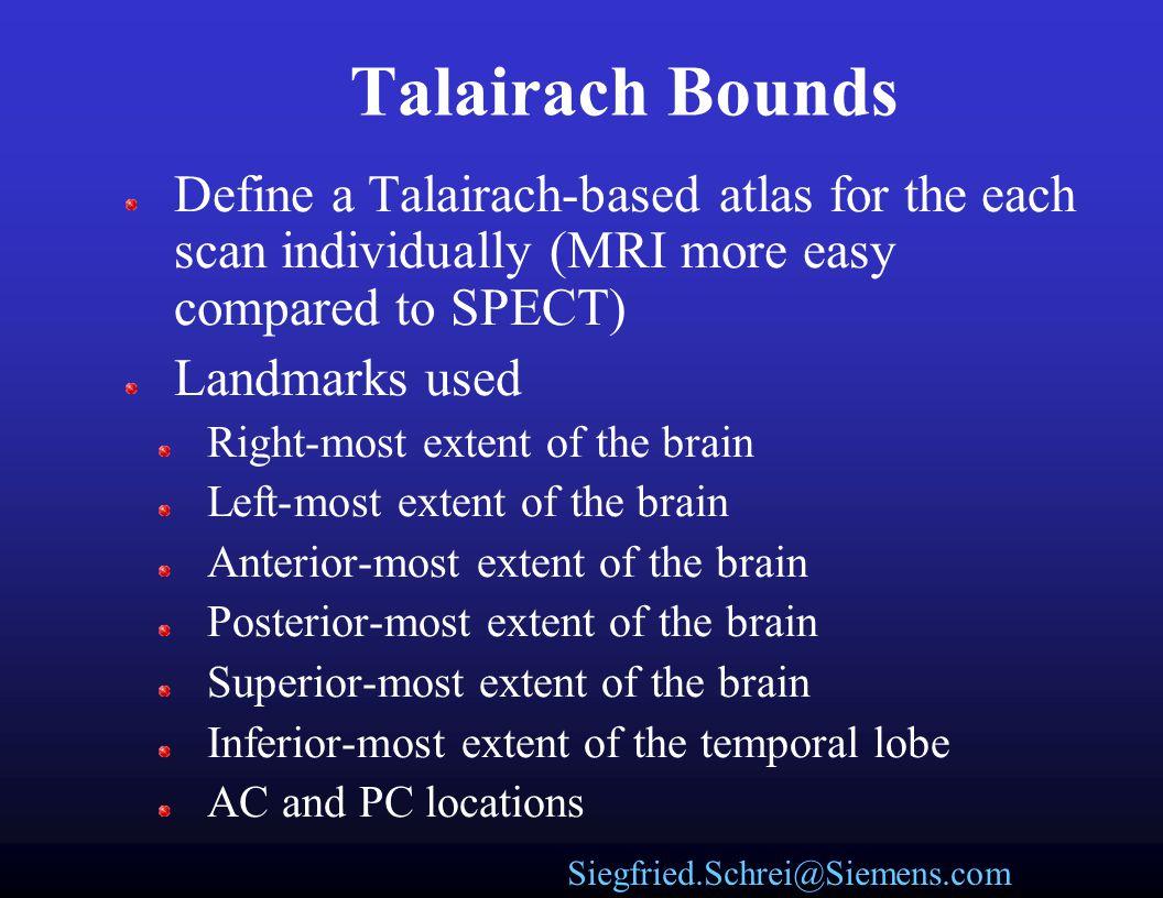 Siegfried.Schrei@Siemens.com Talairach Atlas Talairach atlas coordinate system Resampled image with overlaid Talairach coordinate system