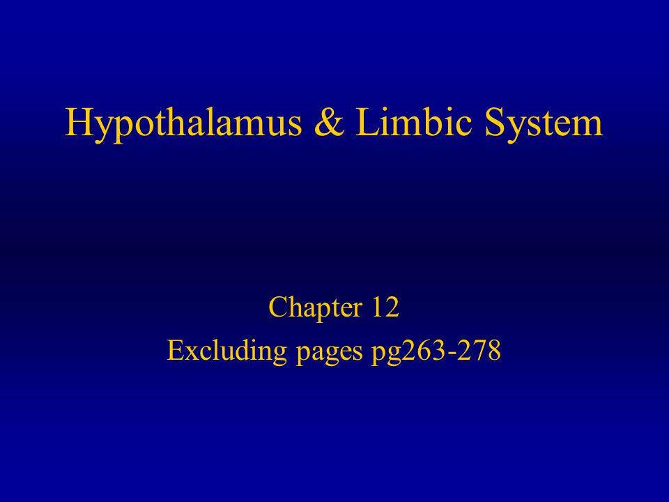 Hypothalamus Regulates Homeostasis Hunger Thirst Body Temp, Blood Pressure Sex Drives & Behavior Emotions Via Limbic System Pituitary Gland Circadian Rhythms