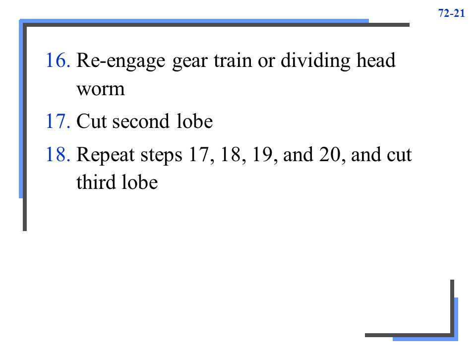 72-21 16.Re-engage gear train or dividing head worm 17.Cut second lobe 18.Repeat steps 17, 18, 19, and 20, and cut third lobe