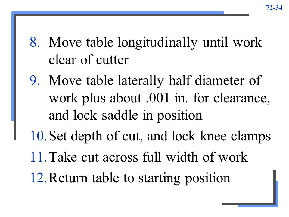 72-34 8.Move table longitudinally until work clear of cutter 9.Move table laterally half diameter of work plus about.001 in. for clearance, and lock s