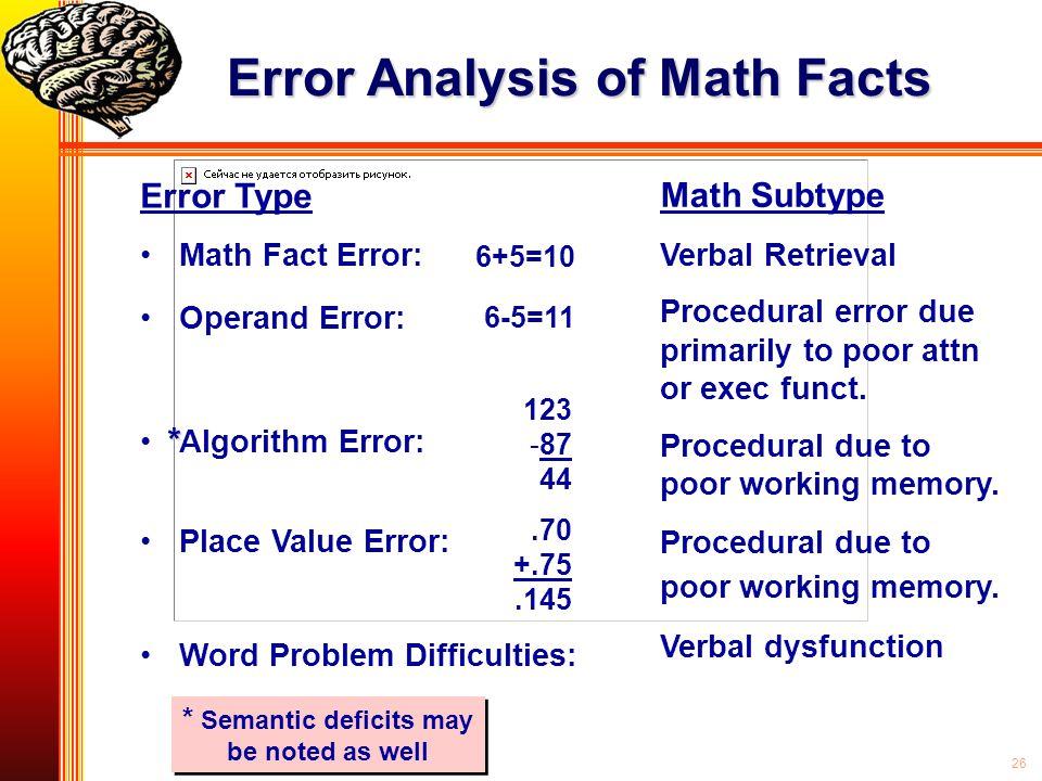 26 Error Analysis of Math Facts Error Type Math Fact Error: Operand Error: Algorithm Error: Place Value Error: Word Problem Difficulties: * Semantic d