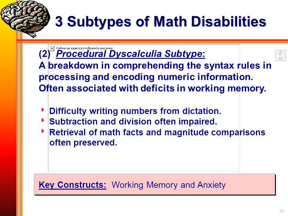 36 (2) Procedural Dyscalculia Subtype: A breakdown in comprehending the syntax rules in processing and encoding numeric information. Often associated