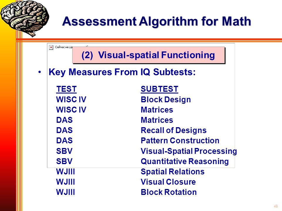 48 Key Measures From IQ Subtests: Assessment Algorithm for Math TESTSUBTEST WISC IVBlock Design WISC IVMatrices DASMatrices DASRecall of Designs DASPa