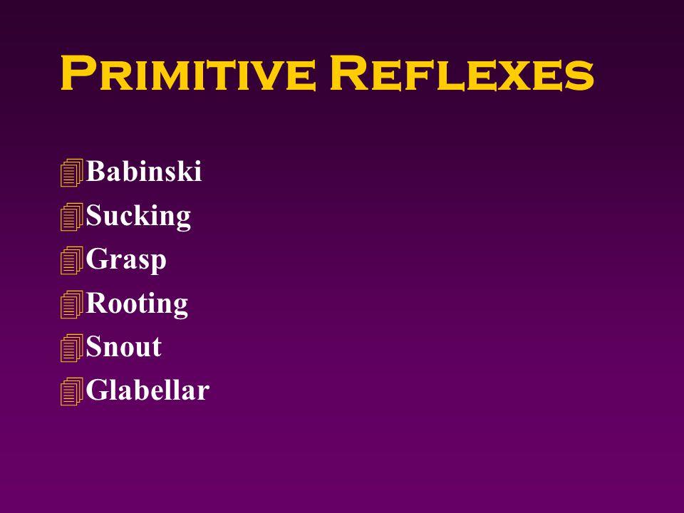 Primitive Reflexes 4Babinski 4Sucking 4Grasp 4Rooting 4Snout 4Glabellar