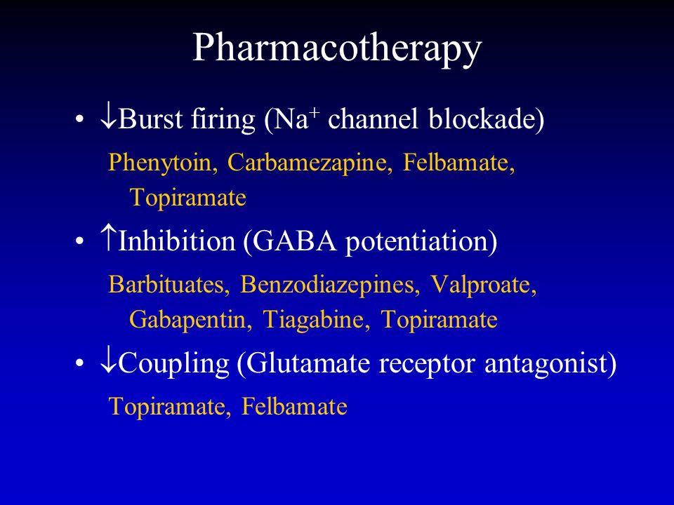 Pharmacotherapy  Burst firing (Na + channel blockade) Phenytoin, Carbamezapine, Felbamate, Topiramate  Inhibition (GABA potentiation) Barbituates, Benzodiazepines, Valproate, Gabapentin, Tiagabine, Topiramate  Coupling (Glutamate receptor antagonist) Topiramate, Felbamate