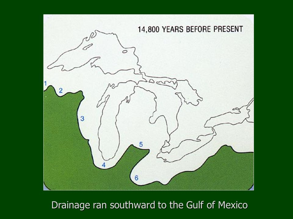 Steps to the modern Great Lakes 9500 years ago Complete deglaciation of Great Lakes area Final stages of modern lake formation Glacial Lake Duluth grew in area The present-day Great Lakes formed as the earth's crust, depressed from the weight of the ice sheets, rebounded after deglaciation.