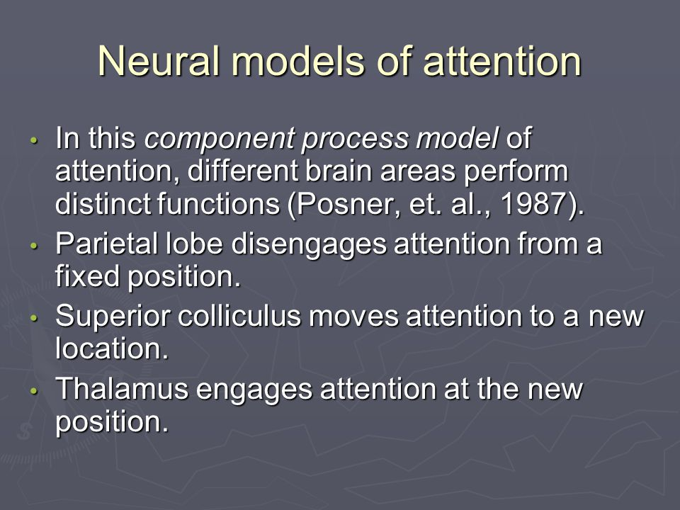 Neural models of attention In this component process model of attention, different brain areas perform distinct functions (Posner, et.