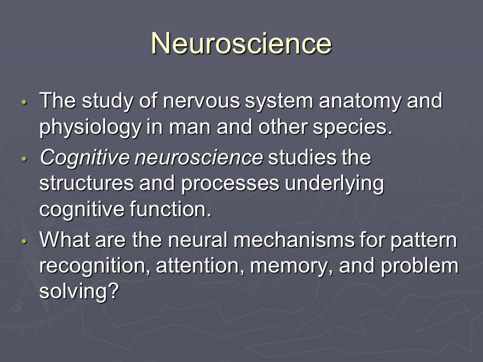 Neuroscience The study of nervous system anatomy and physiology in man and other species.