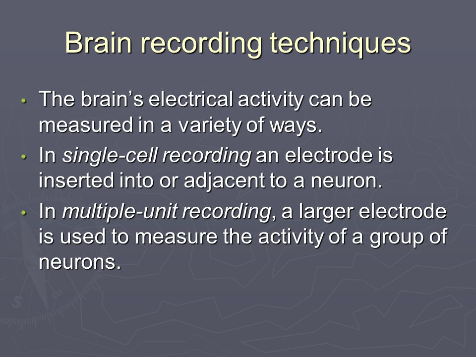 Brain recording techniques The brain's electrical activity can be measured in a variety of ways.