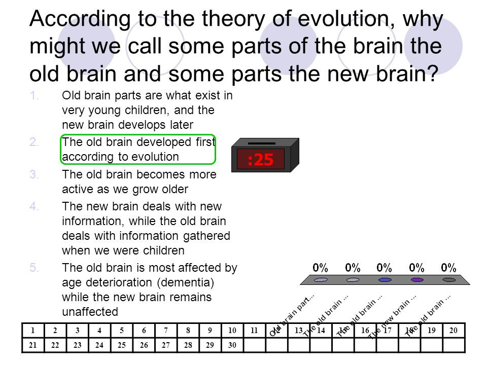 According to the theory of evolution, why might we call some parts of the brain the old brain and some parts the new brain.