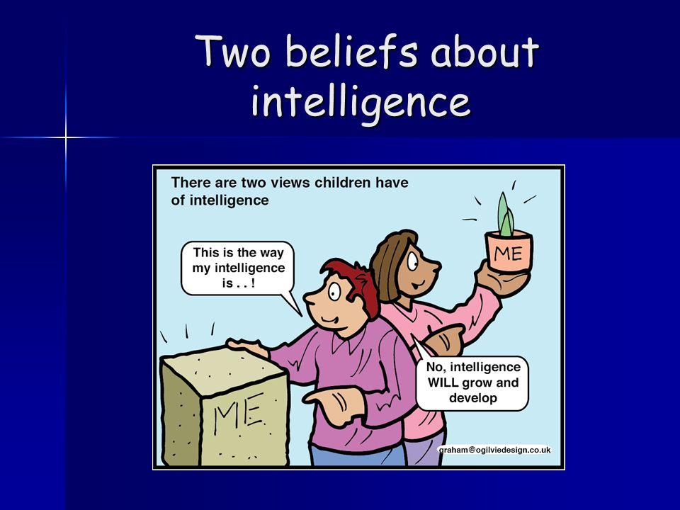 Two beliefs about intelligence Two beliefs about intelligence