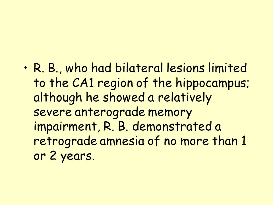 R. B., who had bilateral lesions limited to the CA1 region of the hippocampus; although he showed a relatively severe anterograde memory impairment, R