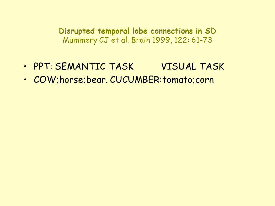 Disrupted temporal lobe connections in SD Mummery CJ et al. Brain 1999, 122: 61-73 PPT: SEMANTIC TASKVISUAL TASK COW;horse;bear. CUCUMBER:tomato;corn